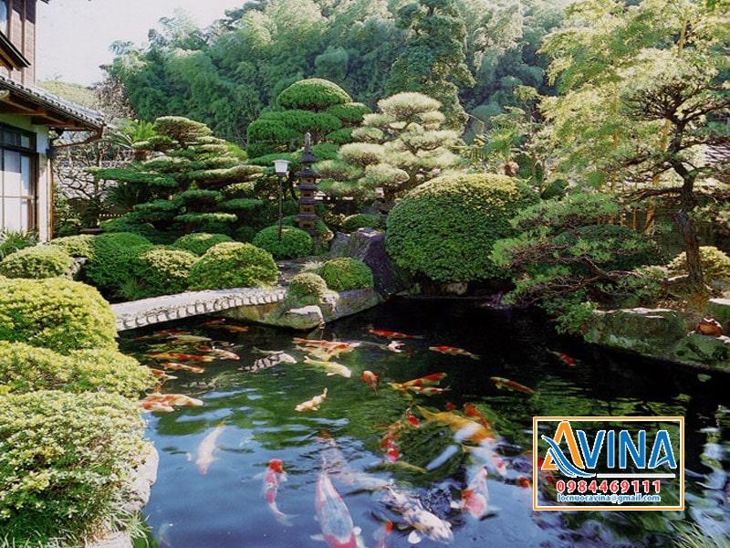 Mẫu hồ cá koi đẹp thiết kế theo phong cách Nhật Bản